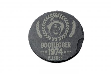 Bootlegger Pilsner Slate Coaster circle