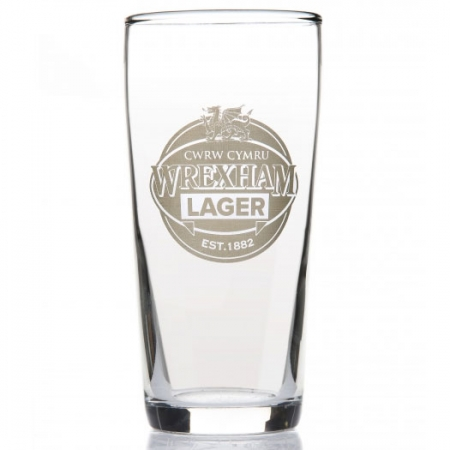 WREXHAM LAGER ETCHED HALF PINT GLASS