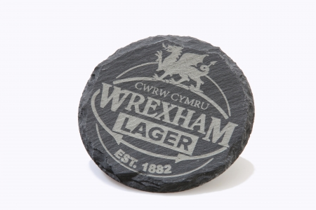 WREXHAM LAGER SLATE COASTER CIRCLE