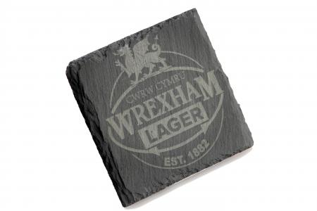 WREXHAM LAGER SLATE COASTER SQUARE